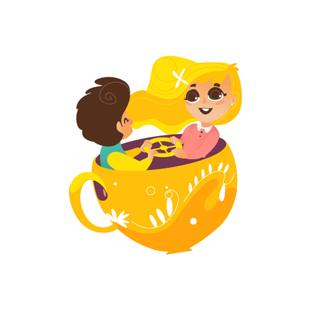 vector flat children in amusement park concept. Boy and cute girl kids having fun sitting in rotating chair cup or playing rocking cups. Isolated illustration on a white background. Illustration