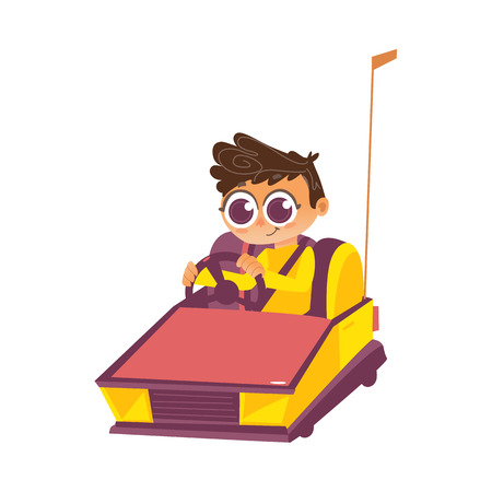 vector flat children in amusement park concept. Boy kid having fun driving toy bamper car from funfair carnival. Isolated illustration on a white background.