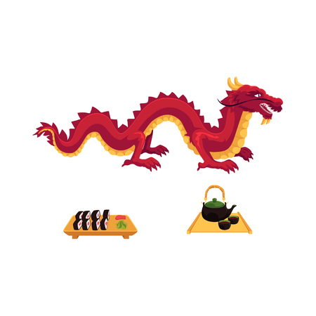 vector flat asian japan, china oriental symbols concept set. Red dragon without wings, sushi with ginger, wasabi and kettle with caps for tea ceremony. Isolated illustration on a white background. Illustration