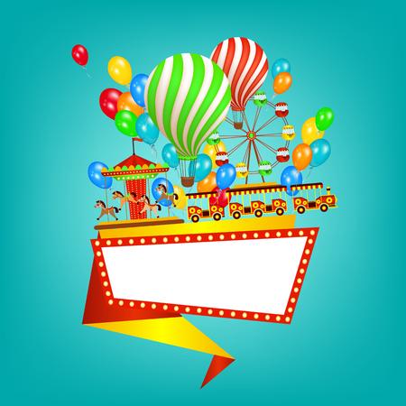 Bannière de parc d'attractions style plat, modèle d'affiche avec tour, éléments de divertissement et espace pour le texte, illustration vectorielle isolé sur fond. Bannière de parc d'attractions plat, conception d'affiche