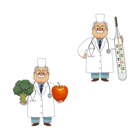 vector flat cartoon adult male doctors, nurses in medical clothing holding big thermometer and fruit vegetables smiling set. Isolated illustration on a white background.