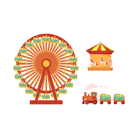 vector flat amusement park objects icon set. Merry go round, Funfair carnival vintage flying horse carousel, kid steam train and Ferris wheel. Isolated illustration on a white background. Banco de Imagens - 87853825