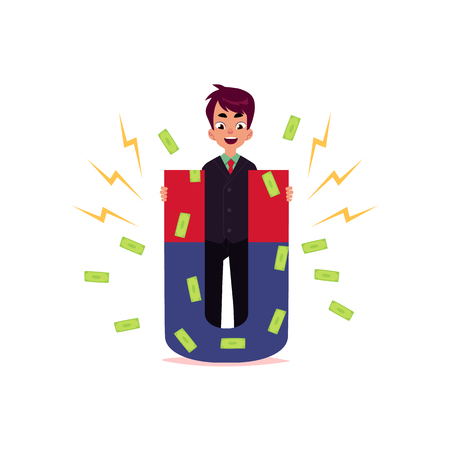 vector flat cartoon man standing with large magnet. Male Clerk, office worker trying to attract dollar notes. Isolated illustration on a white background.