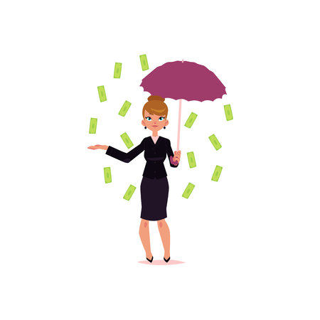 vector flat cartoon girl standing under money rain. Female Clerk, office worker woman catching dollar notes falling from air. Isolated illustration on a white background. Illusztráció