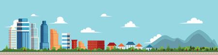 ベクトル フラット漫画パノラマ - - オフィス センターの異なる建物と街並みの民家、公園と mountines にコテージを付属しています。青色の背景のイ
