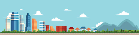 벡터 플랫 만화 파노라마 - 다른 건물 - 도시 센터, 다음 개인 주택, 코 티 지 공원 및 mountines 온다. 파란색 배경에 그림 일러스트