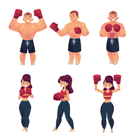 vector cartoon muscular strong cute beautiful woman, girl and handsome man stand in different poses with red boxing gloves smiling set. Isolated illustration on a white background.