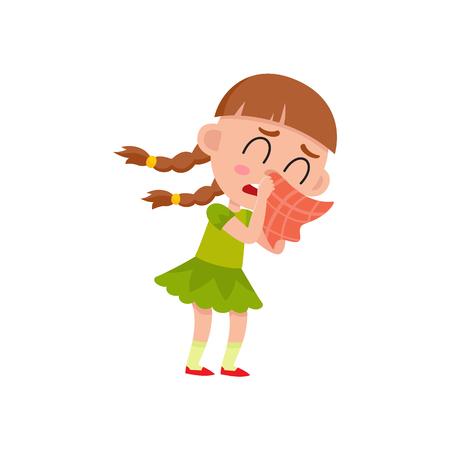 벡터 평면 만화 소녀 아이 녹색 드레스에 빨간색 손수건 울고 함께 그녀의 코를 불면. 흰색 배경에 고립 된 그림입니다. 일상적인 개념