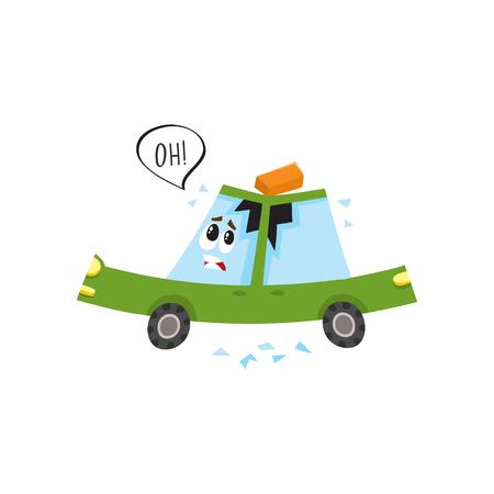 Vector flaches Karikaturautozeichen, das ooh mit dem Ziegelstein sagt, der zu seinem Dach gefallen ist, verbeult es und machte Sprung im Seitenfenster. Getrennte Abbildung auf einem weißen Hintergrund. Autounfall, Unfallkonzept Standard-Bild - 87853834