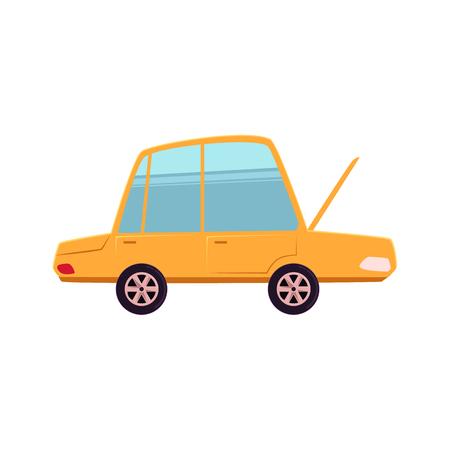 Historieta divertida, coche del estilo cómico con la capilla delantera abierta, capo, ilustración del vector aislada en el fondo blanco. Dibujos animados, coche de estilo cómico con capó abierto, servicio de auto, concepto de reparador