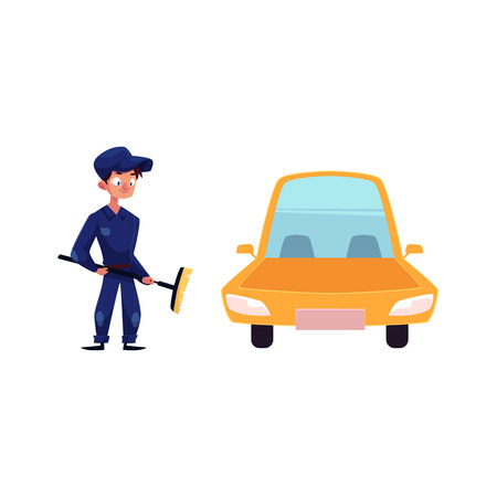 vector flat cartoon funny young man, boy mechanic in blue uniform holding big broom in hands near yellow car. Male full lenght portrait caucasian character isolated, illustration on a white background
