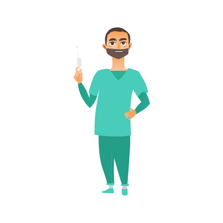 vector flat cartoon young male doctor, physician or nurse in green medical clothing with beard, keeping syringe smiling. Isolated illustration on a white background.