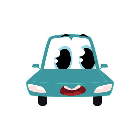 面白い漫画、舌でコミック スタイル車の文字を出して、白い背景で隔離のビュー ベクトル図をフロントします。漫画、コミック スタイルの車、人