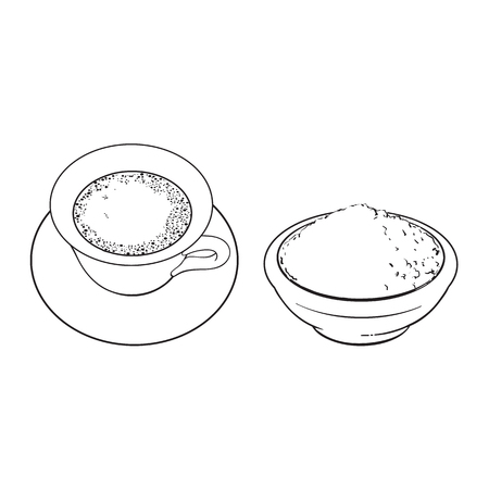 Black and white contour drawing, vector sketch cartoon hand drawn ceramic bowl with powder and cup of mathca tea top view set. Isolated illustration on a white background.