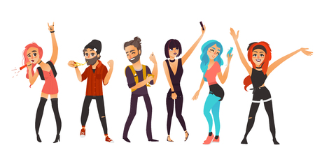 Friends having fun at birthday party, in night club, at disco, flat cartoon vector illustration isolated on white background. Young people, boys and girls, dancing, blowing birthday horns, having fun Ilustração