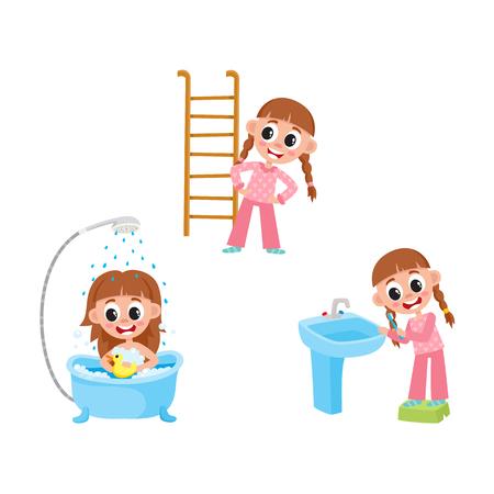 벡터 일상적인 일을 하 고 평면 소녀 아이가 설정합니다. 아이 목욕 장난감 욕조에 세척, 칫 솔 질, 실제 연습을 하 고. 흰색 배경에 고립 된 그림입니다 일러스트