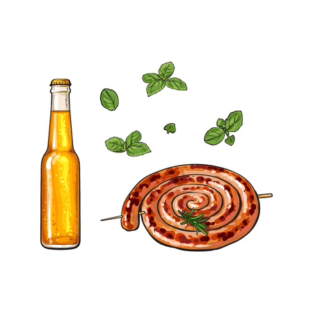 Cold beer and grilled, barbequed Cumberland sausage, sketch style vector illustration on white background. Realistic hand drawing of grilled, fried, barbequed Cumberland sausage and bottle of beer Ilustração