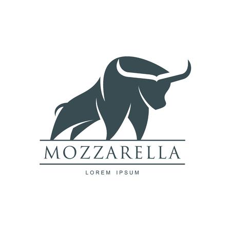 水牛モッツァレラチーズ イタリアのチーズ ブランド、ロゴ デザイン アイコン pictrogram シルエット。碑文のモッツアレラと角のある牛のイラスト。