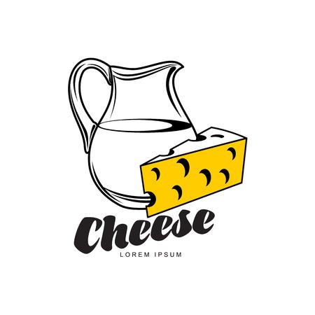 多孔質チーズ穴とミルク水差しのブランド、ロゴ製品デザイン アイコン pictrogram シルエットのスイス、オランダ maasdam 黄色部分。白い背景の上の隔