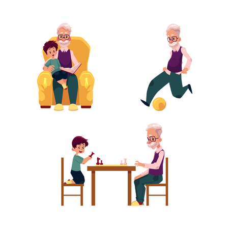 vector flat grandparents ,children set. grandson and grandfather playing chess sitting at table and football, boy sits at grandfather s knees at armchair . Isolated illustration on a white background.