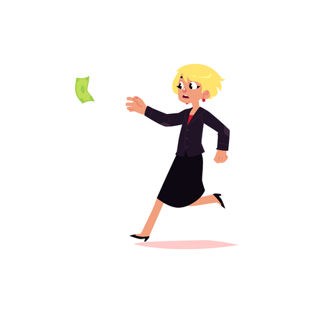vector flat cartoon girl running for money. Female Clerk, office worker woman chasing, trying to catch for dollar note. Isolated illustration on a white background. Stock Photo