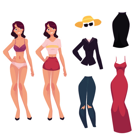 Pretty young woman, girl in lingerie, red evening dress, jeans, jacket, sunglasses and skirt, cartoon vector illustration isolated on white background. Young woman, girl and her fashion clothes Illustration