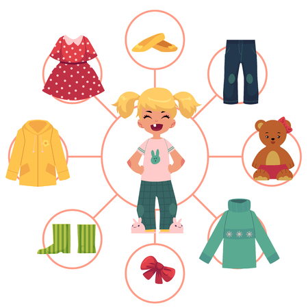 Little girl, child, kid in pajamas and her wardrobe, set of clothes, outfit, cartoon vector illustration isolated on white background. Front view portrait of little girl and her clothes infographics