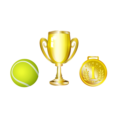 vector flat cartoon sport equipment set. Tennis ball , golden winner cup and first place medal trophy award objects . Isolated illustration on a white background Illustration