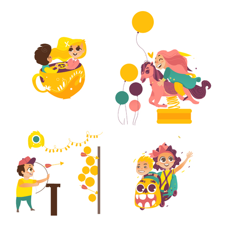 vector flat amusement park. Boy with bow, arrows in Shooting gallery, kid spinning at tea cup, girl at merry go round horse carousel, kids at roller coaster. Isolated illustration on white background. Illustration