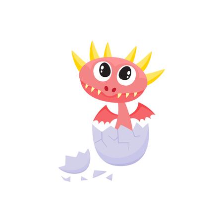 벡터 플랫 만화 재미 있은 레드 드래곤 아이, 뿔과 계란에서 부 화하는 날개 아기. 흰색 배경에 고립 된 그림입니다. 당신의 디자인을위한 요정 신비한