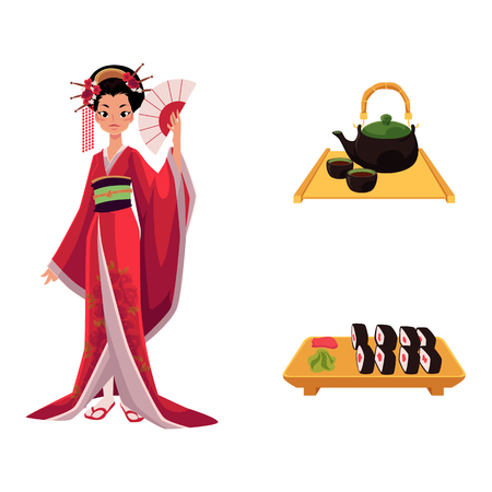 vector flat asian japan, china oriental symbols concept set. Geisha with folding fan, sushi with ginger, wasabi and kettle with caps for tea ceremony. Isolated illustration on a white background. Çizim