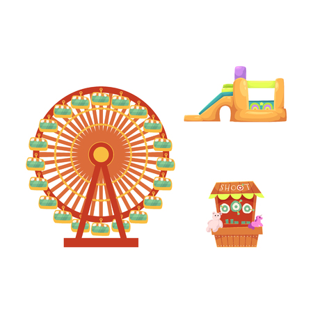 vector flat amusement park objects icon set. Shooting gallery with beara, unicorn toys - awards, inflatable bouncy castle and Ferris wheel. Isolated illustration on a white background. Illustration