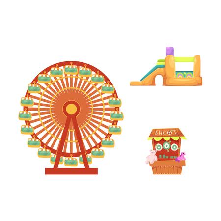 Vektor flache Vergnügungspark Objekte Icon-Set. Schießstand mit Beara, Einhornspielzeug, Hüpfburg und Riesenrad. Getrennte Abbildung auf einem weißen Hintergrund. Standard-Bild - 88063386