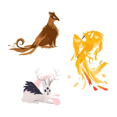 vector platte cartoon mythische dieren instellen. Drieoog haas met hoorns, griffioen, fictief schepsel met adelaarsvleugels, veren en feniks. Geïsoleerde illustratie op een witte achtergrond. Stock Illustratie