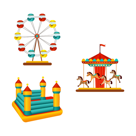 Vektor flach Vergnügungspark Objekte Symbolsatz. Fröhlich gehen Sie um, Karussell Jahrgang fliegende Pferdekarussell, aufblasbares federnd Schloss und Riesenrad. Getrennte Abbildung auf einem weißen Hintergrund. Standard-Bild - 88063390