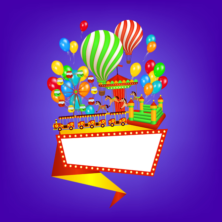Flat style amusement park banner, poster template with ride, entertainment elements and space for text, vector illustration isolated on background. Flat amusement park banner, poster design