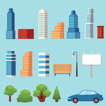 vector flat urban city objects set. Different buildings Skyscrapers, office centers shopping mall, city apartments houses, trees , car billboard bench and streetlight. Illustration on blue background Illustration