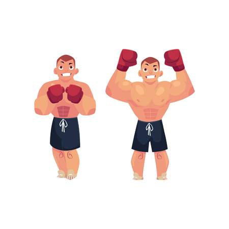 vector cartoon muscular strong handsome boxer man bare torso and chest standing with hands in red boxing gloves different poses set. Isolated illustration on a white background.