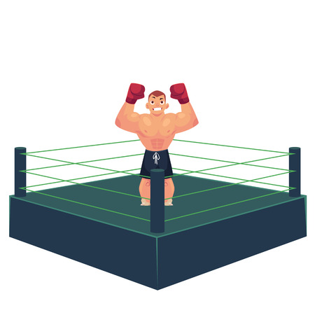 vector cartoon muscular strong handsome boxer man bare torso and chest standing with hands in red boxing gloves raised up smiling like winner in ring. Isolated illustration on a white background. Illustration