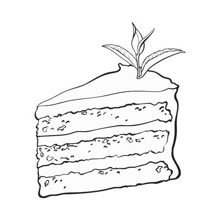 Hand drawn black and white contour piece of matcha tea layered cake, sketch style vector illustration isolated on white background. Imagens - 88063403