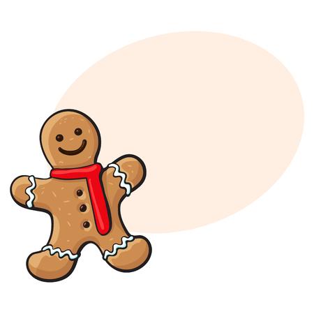 유약 된 gingererman 모양의 수 제 크리스마스 생강 빵 쿠키, 스케치 스타일 벡터 일러스트 레이 션 흰색 배경에 고립. 크리스마스 gingererman 웃는 모양의 크 일러스트