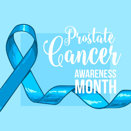 Prostate cancer awareness month banner, poster, template with hand drawn blue ribbon, sketch vector illustration. Hand drawn blue ribbon, prostate cancer awareness month campaign banner, poster, card Çizim