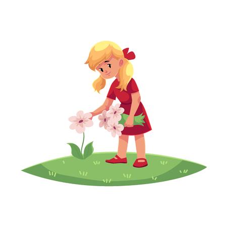 Vector niños adolescentes de dibujos animados plana - niña recogiendo flores de campo - manzanilla, acianos en verano. Niños en el concepto de granja. Ilustración aislada en un fondo blanco. Foto de archivo - 88063413