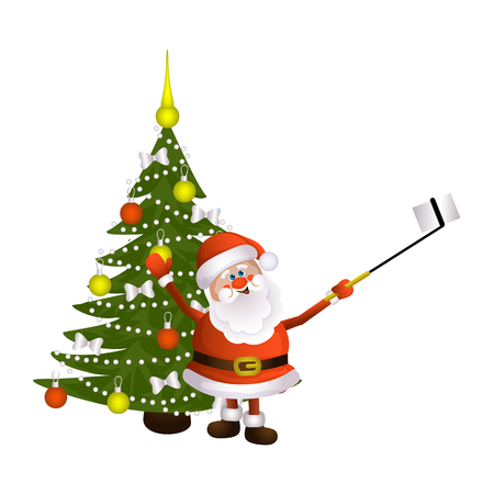 vector cartoon Santa Claus standing in red white clothing and hat making selfie by stick on decorated spruce tree background. Illustration isolated on a white background. Christmas poster design
