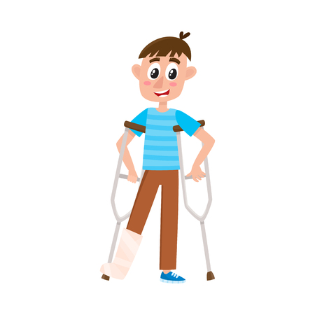 vector flat cartoon teen disabled boy character standing on crutches with broken leg in plaster. Isolated illustration on a white background.