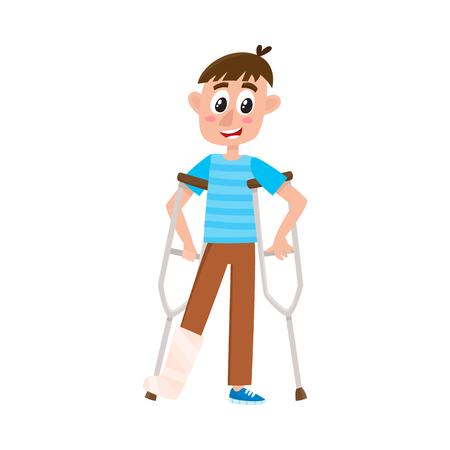 vector platte cartoon tiener uitgeschakeld jongen karakter staande op krukken met gebroken been in het gips. Geïsoleerde illustratie op een witte achtergrond.
