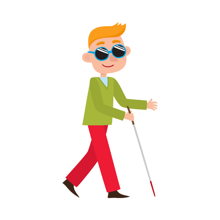 vector flat cartoon teen disabled blind boy character in dark sunglasses holding walking stick or cane. Isolated illustration on a white background.