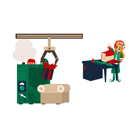 vector flat cartoon hand drawn christmas elf girl standing near table wrapping present box in holiday santa hat and gift factory mahine with conveyor belt. Isolated illustration on a white background 向量圖像