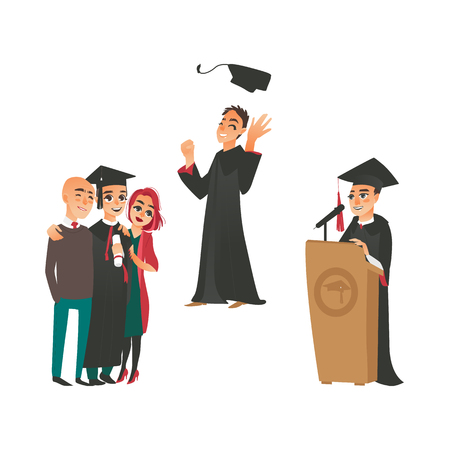 vector flat college, university graduates scenes set. Boy in graduation gown, cap speaking in microphone at tribune, boy standing with parents, throwing up hat. Isolated illustration, white background