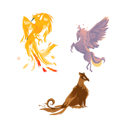 vector flat cartoon mythical animals set. Rearing pegasus fairy fictional horse with eagle wings with rich plumage, feathering, phoenix and griffin. Isolated illustration on a white background.